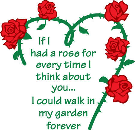 notions: Send your loved one this beautiful heart vine of roses to remind them how special they are to you.  Another perfect design from Great Notions. Illustration