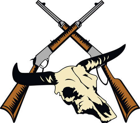 texas longhorn cattle: Show your western style with this wild west design.  Perfect for the rancher or cowboy!  They will love it! Illustration
