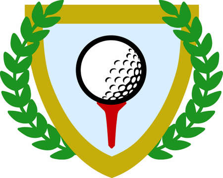 game show: Golfers will love a crest to show off their love of the game. Illustration