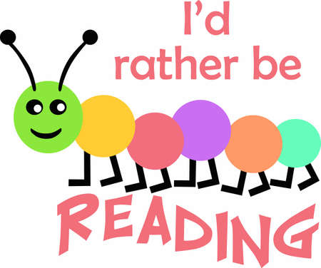 bookworm: This cute little bookworm for kids who plan to make reading a favorite thing to do. Perfect designs from Great Notions.