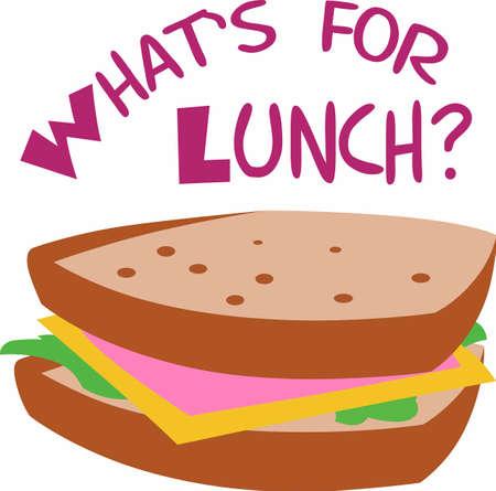 Die perfekte Mahlzeit unterwegs zum Mittagessen ist ein Sandwich mit den Befestigungen. Ein Spaßentwurf aus Groß Notions! Standard-Bild - 45195531