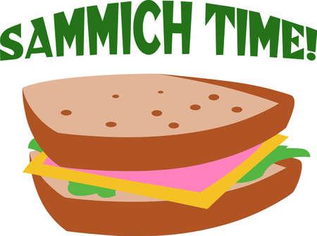 昼食のため外出先で完璧な食事は、すべての具のサンドイッチです。 楽しいは、偉大な概念からデザイン! 写真素材 - 45195529