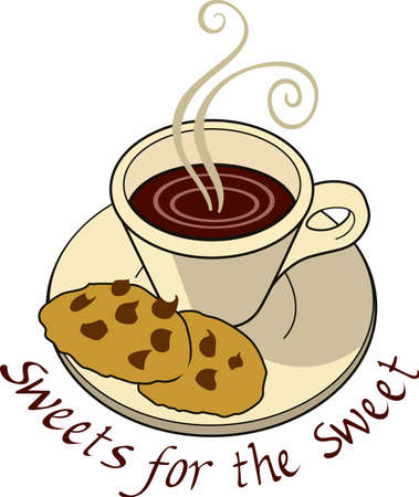 Have a coffee break with a cup and some cookies. Ilustrace