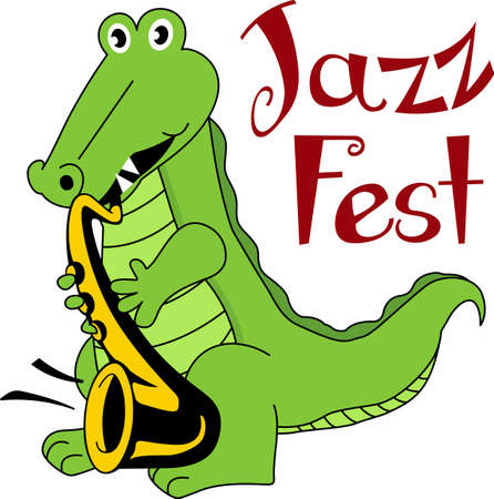 flair: Have cajun flair with a jazz aligator. Illustration