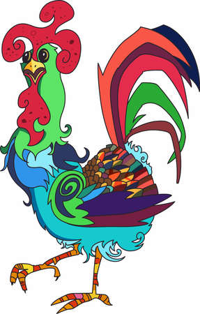 fowls: Have a colorful rooster in your kitchen. Illustration