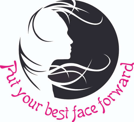 This beautiful silhouette of a lady with her hair flowing in the wind is a beautiful design from Great Notions. 向量圖像