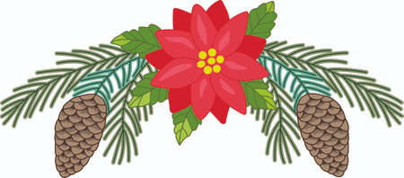 notions: Send holiday cheers with these beautiful Christmas poinsettia. Pick those designs by Great Notions! Illustration