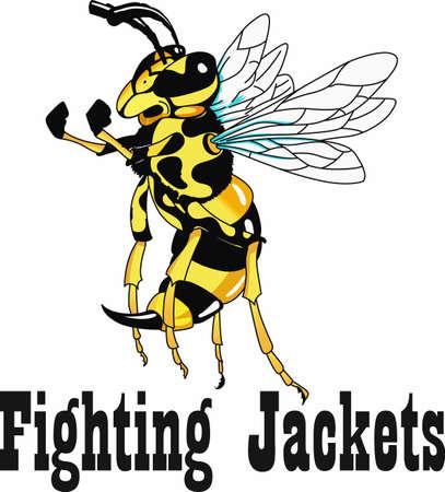 Show your team pride with a yellow jacket mascot. Ilustração