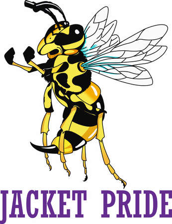 Show your team pride with a yellow jacket mascot. Ilustracja