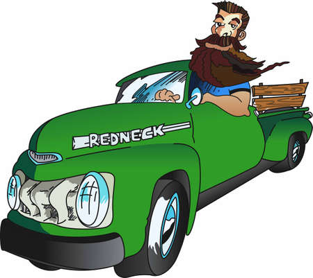 Display your sense of humor with a redneck in a pickup. Banco de Imagens - 45197322