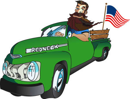 Display your sense of humor with a redneck in a pickup. Banco de Imagens - 45197221