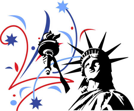 Show your patriotism with a statue of liberty fireworks display. Reklamní fotografie - 45197080