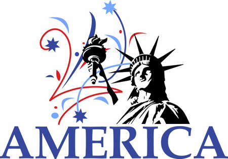 fireworks show: Show your patriotism with a statue of liberty fireworks display. Illustration