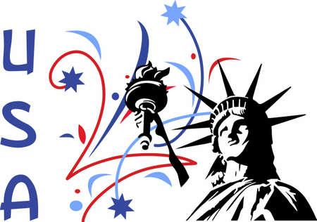 花火大会自由の像があなたの愛国心を表示します。