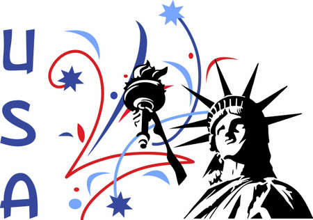 Show your patriotism with a statue of liberty fireworks display. Reklamní fotografie - 45197097