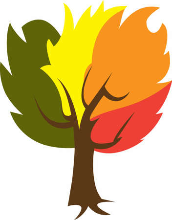 Decorate with a colorful tree for the fall season. Çizim
