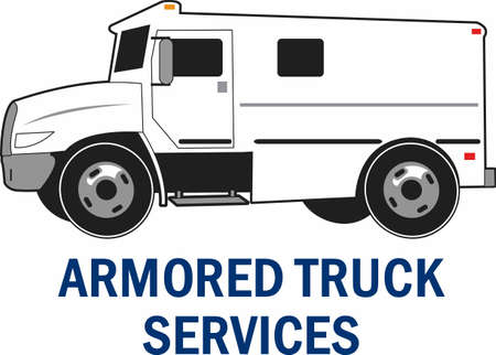 armored truck: Armored truck services is an important job.  The perfect design for your company from Great Designs. Illustration