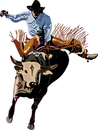 bucking bull: Yee haw!  This is a cute design for your cowboy.  He will love it! Illustration