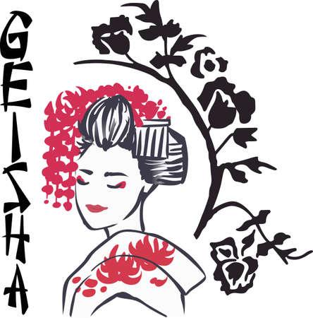 A beautiful geisha girl is a classic asian themed design.