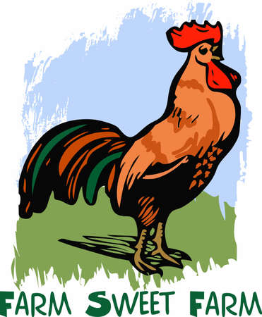 Add a colorful rooster to your kitchen decor. Çizim