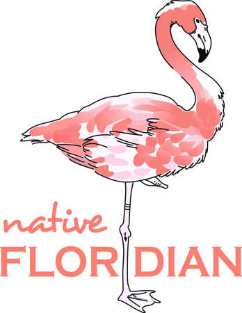 fowls: This adorable flamingo says think pink.  Send this happy flamingo to a child.  They will love it! Illustration