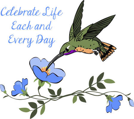 Add life to garden decor with a flower and hummingbird.