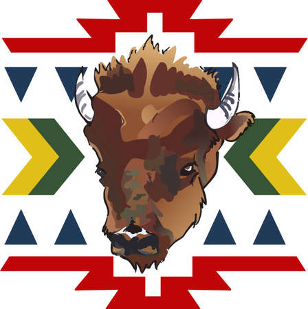 indian buffalo: Have a great symbol of the American Indian with this unique buffalo head design. Illustration