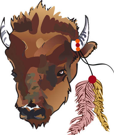 Have a great symbol of the American Indian with this unique buffalo head design. 向量圖像