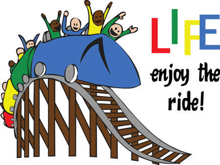 A roller coaster is a fun light hearted way to look at the ups and downs to life.    Stock Illustratie