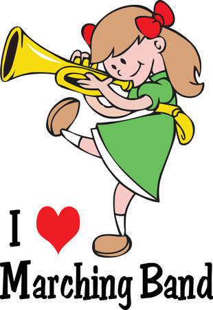 Playing the trumpet and marching band, girls can do anything boys can do and love it!  Perfect design by Great Notions.