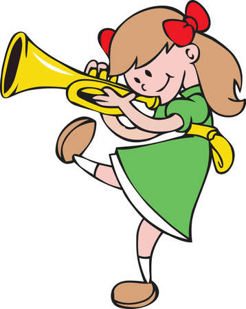 Playing the trumpet and marching band, girls can do anything boys can do and love it! 版權商用圖片 - 45244369