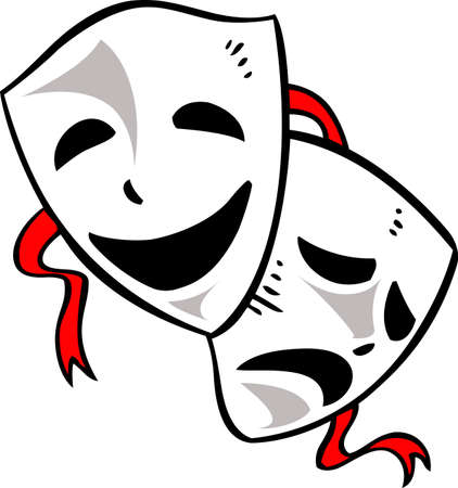 comedy: Drama masks are the perfect design to promote the drama department.