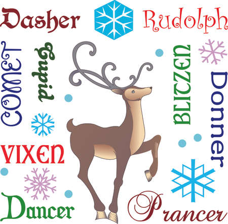 donner: Christmas isnt complete without a reindeer. Lift up your hearts to the magic within. Illustration