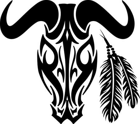 bullock animal: A tribal animal design makes for a great tattoo. Illustration