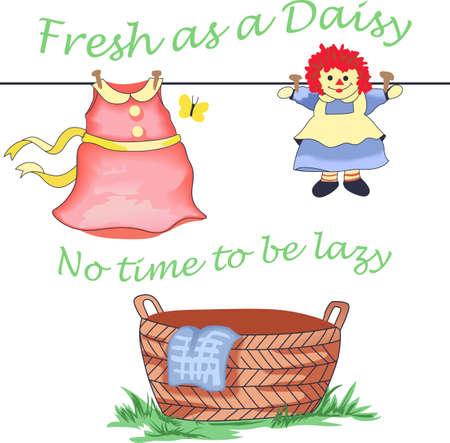 당신의 세탁 하루를 밝게하는 귀여운 디자인. 일러스트