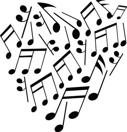 Show your love for music with a heart of notes. Иллюстрация