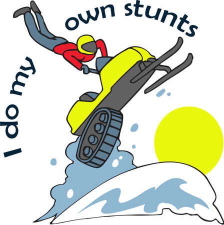 winter fun: Have winter fun with a snowmobile. Illustration