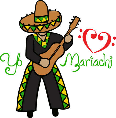 This mariachi man likes to play for you while you enjoy your Mexican food.   Иллюстрация