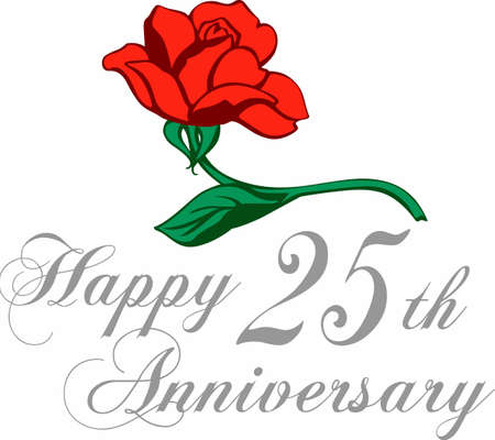 twenty fifth: A rose is a great gift for an anniversary. Celebrate your Silver Jubilee   Illustration