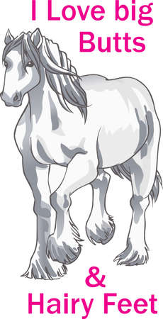 draft horse: This graceful horse with the wind blowing its mane will be beautiful on a shirt, vest or jacket.   Illustration