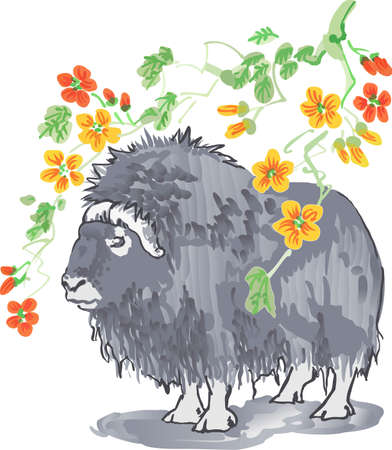 The pretty design of the Chinese year of the ox.   Illustration