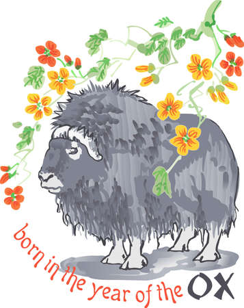 The pretty design of the Chinese year of the ox.