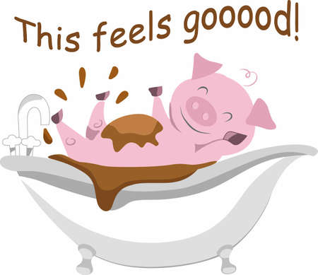 swines: A good mud bath is just what a funny pig needs.   Illustration