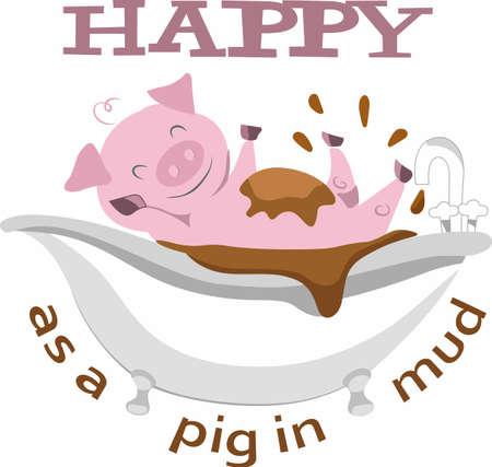 A good mud bath is just what a funny pig needs.   Иллюстрация