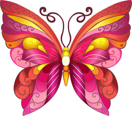 mariposa: This beautiful butterfly shows a matching caterpillar in pink and yellow is perfect for your springtime design showing that nature is fore