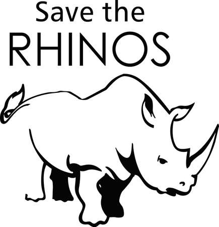 Show your support to save the rhinos  向量圖像