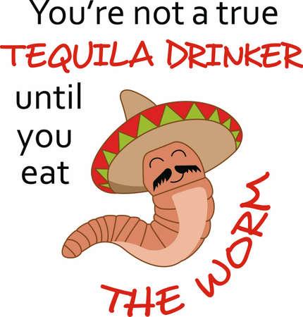해학적 인: Have a humorous worm to accent the spirit of tequila.