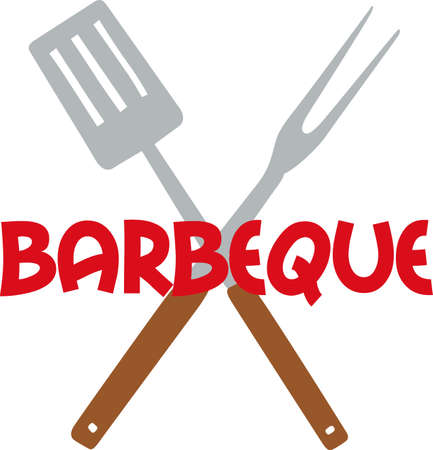 Make a great BBQ design with these utensils. Ilustrace