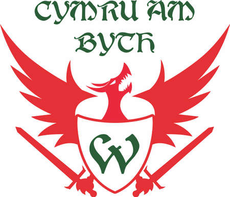 National motto of Wales, Cymru am byth, with the Welsh Dragon.