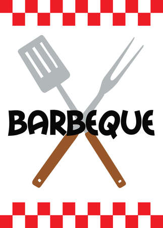 Make a great BBQ design with these utensils. Illustration
